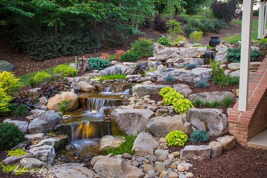 decorative water feature with rainwater storage system