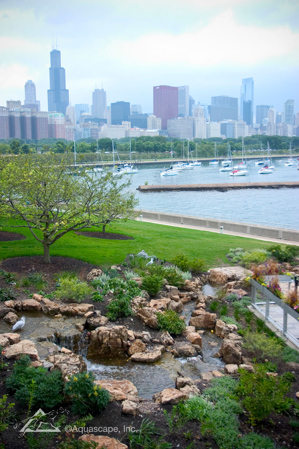 A Third, Smaller Pondless Waterfall Is Located Near An Outdoor Pavilion At  The Shedd Aquarium.